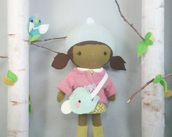 """Handcrafted STUDIO DOLL 15"""" - Girl in the Jacket with Elephant Purse.  Handmade, Doll, Girl, Toy, Plush, Children, Gift"""