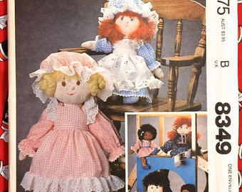 Vintage PRAIRIE RAG DOLL Sewing Pattern 1980s Soft Sculpture Cloth Dolls 8349