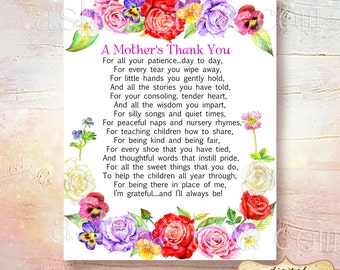 SALE Teacher Appreciation Print - End of Year Teachers Gift - Childcare Teachers Gift - Digital File - A Mothers Thank You!