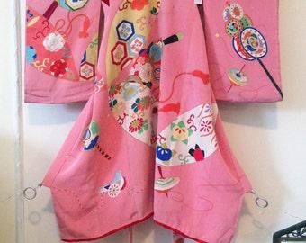 Vintage girl's kimono, robe wall decor