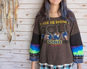 Sega Gamer Sonic The Hedgehog Tie Dye Bell Sleeve Plaid Tunic Tee TShirt Top Oversized / One Size
