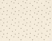 Unbleached Fabric printed with tiny black stars, Calico looking, 100 percent cotton, Great for doll clothes Sold by the yard, 44 inches wide