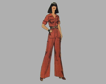 1975 Jumpsuit Pattern, Simplicity 7310, Bust 34 inches, Front zipper, Round neckline/collar, Long/short sleeves, Low pocket on legs Complete