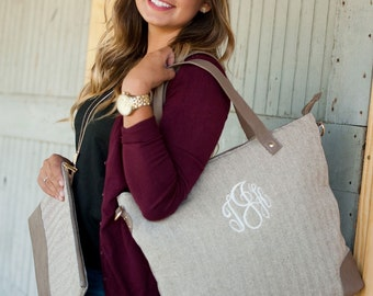 Monogrammed herringbone shoulder bag last day to order Dec 12 maid of honor matron of honor bridesmaids personalized luggage laptop BeachHou