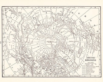 1926 Map North Pole - Vintage Antique Map Great for Framing