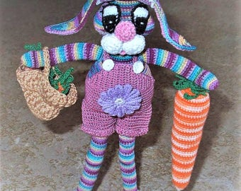 "Buy Bonnie's - 5.5"" Cotton Thread Multi-Shades Crochet Big Eyed Long Legged Bunny & Gold Basket of Carrots An One Large Carrot @ cyicrochet"