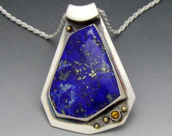 "Lapis with Citrine Pendant on 20"" adjustable chain"