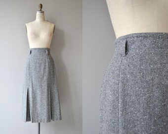 Mawbury Tweed skirt | vintage 1980s skirt | grey wool midi skirt