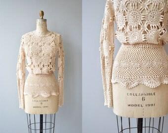 Ananke crochet sweater | vintage 1970s crochet sweater | cream 70s crochet top