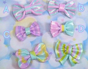 Fairy kei bow barrettes - polymer clay originals