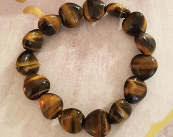 Tiger's Eye Mini Heart-Shaped Bead Stretch Bracelet for Success with Integrity