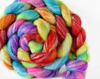 Rainbow Prism 4 oz Panda Top Merino/ Bamboo/ Nylon Superwash roving for spinning