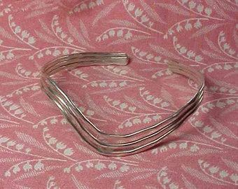 Vintage 925 Sterling Wave Design cuff Bangle Bracelet