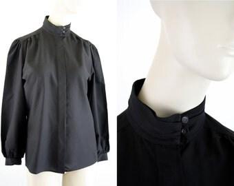 Laura Mae Mock Neck Black Long Sleeve Button Down Woman's Vintage Blouse