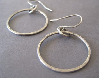 Hoop Earrings, Handmade Jewelry, Everyday Earrings, Fine Silver Earrings, Long Dangle Earrings