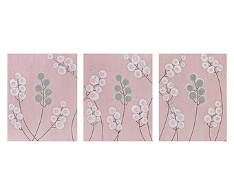 ON SALE Girls Nursery Art for Baby - Wall Canvas Flower Painting - Textured Triptych - Large 50x20