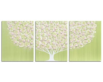 Tree Wall Art Painting for Childrens Room Decor - Textured Green and Pink Canvas Triptych - Large 50x20