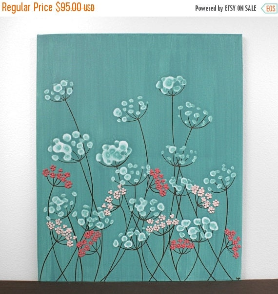 ON SALE Teal Nursery Decor Canvas Art - Painting for Girls Room - Textured Artwork Flowers - Small 20x24