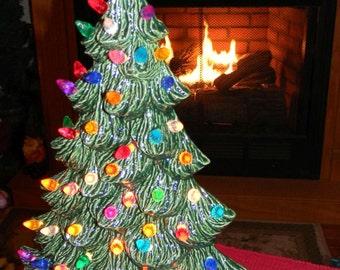 "Ceramic Christmas Tree  Evergreen Green Lg 18"" Vintage style Lighted - slim windowsill style  lights 9 colors Ready to ship"
