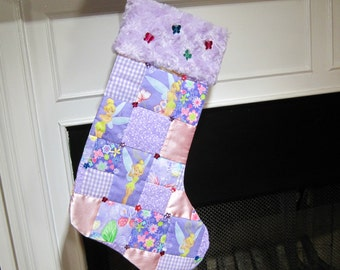 Disney's Tinker Bell Patchwork Quilted Christmas Stocking Personalized Christmas Stocking Tinker Bell Stocking Purple and Pink Stocking
