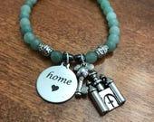 Cinderella Castle and Mickey Key Charm Bracelet, Disney is Home, Disney Inspired Jewelry,semi precious stone stretch bracelet