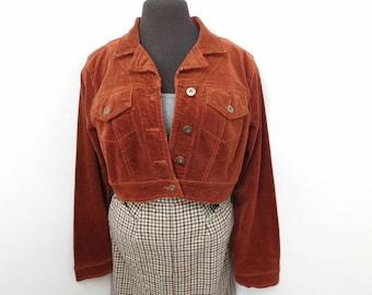 Vintage 90s Rust Corduroy Cropped Jacket Short Waist Cotton Spandex L Large