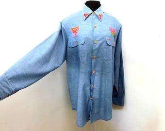 Vintage 70s Denim Chambray BIG MAC Cotton Shirt Southwestern Colorful Embroidery Aztec Hippie Roadrunner Unique Top XL Extra Large Long