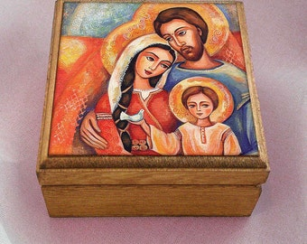Holy Family box, Nativity box, mother box, Virgin Mary and Jesus, mother and child, christian box, jewelry box, 3.5x3.5+