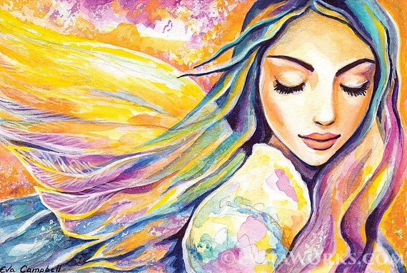 Angel of silence, inspirational art, watercolor painting, spiritual painting, divine feminine, healing art, poster woman wall print 8x12+