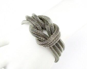 Mesh Knot Bracelet Silver tone 1980