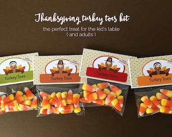 KIT Turkey Toe Tags, Thanksgiving, Candy Corn, Kids Table Treat, Party Favor, Place Setting, Turkey, Gobble Gobble, Thanksgiving Treat