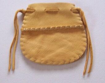 Beautiful Deerskin Leather Medicine Bag .. Seamed...GOLD