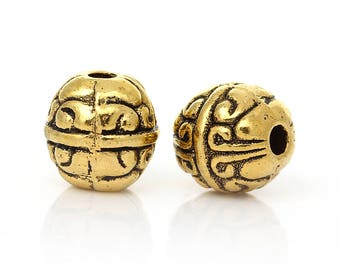 Antique Gold/Brass Bead - 8mm - 20 pieces - #HK1366