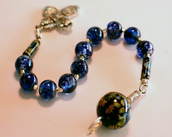 Blue Swirl Glass with Tensha Bead, Catholic, Single Decade Rosary