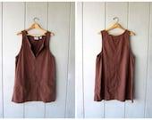 Vintage 90s Brown Cotton Mini Dress Zip Up Jumper Dress Bib POCKET Dress Preppy Summer Spring Pullover Dress Women's Medium