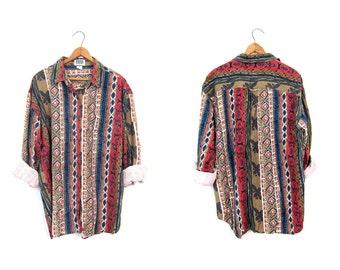 Southwestern Print 90s Shirt Raw SILK Long Sleeve Blouse Button Up Slouchy Boho Shirt Vintage Red Blue Nubby Silk Blouse Women's Large