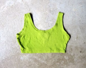 vintage 80s Olive Green Sports Bra JAZZERCISE Athletic Bralette Cropped Tank Top Yoga Work Out Top Jogger Sporty Tank Bikini Top Medium