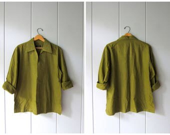Olive Green Cotton Dashiki Shirt Indian Ethnic Top Minimal Thin Cotton Blouse Mens Long Sleeve Dress Shirt Modern Cotton Shirt Medium Large