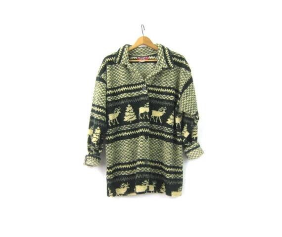 vintage fleece jacket Green Reindeer Print Ski blanket Trees & DEER sweatshirt coat Fall Button sweater jacket Womens size Large