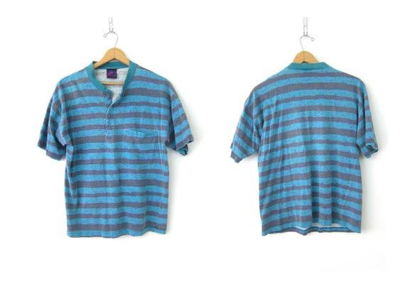 Striped Cotton T Shirt Oversized Washed Out Blue & Gray Stripes TShirt 1990s Preppy Boyfriend Tee Shirt Surfer Bum Vintage Coed Size Medium