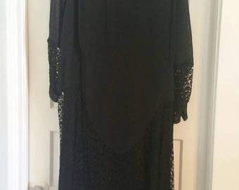 Plus size late 20s 1920s dress with French lace goth Downton abbey witchy volup rare gatsby antique Gothic boudoir