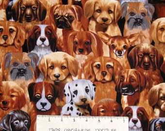 Pet Fabric - Michael Searle Puppy Dogs Packed C9819 - Timeless Treasures YARD
