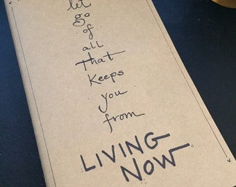 Hand lettered journal with quote