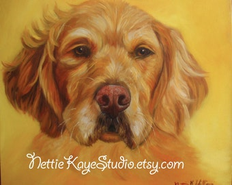 CUSTOM PET PORTRAIT  in oil  on  20 x 20  square canvas Sale!