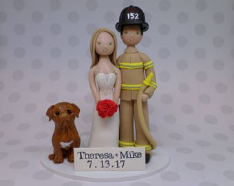 Personalized Firefighter Wedding Cake Topper