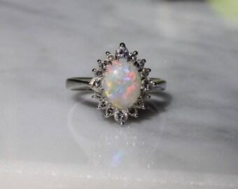ANTIQUE DIAMOND OPAL vintage antique circa 1940s Art Deco Midcentury retro 14k white gold engagement halo ring size 6.75