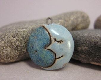 Crescent Moon...Stoneware Pendant...Blue