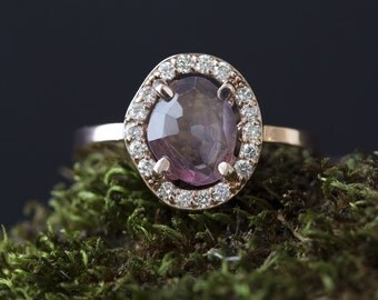 Natural Rose Cut Pink Sapphire Ring with Pavé Diamond Halo