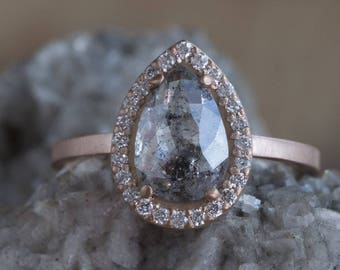 One of a Kind Salt + Pepper Diamond Ring with Pavé Halo