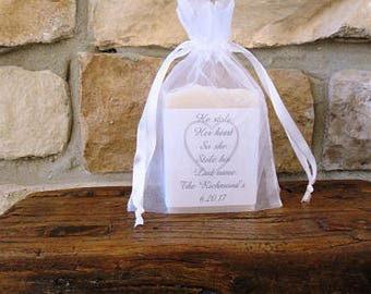 Wedding Favors With Organza Pouch,  Wedding Favors, Personalized Wedding Label, Guest Soap, Custom Wedding Label